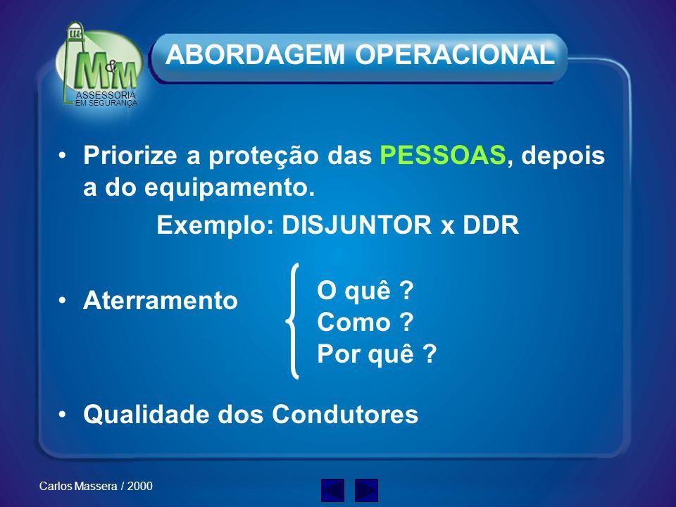 ASSESSORIA EM SEGURANÇA Carlos Massera / 2000 ATENÇÃO Somente um eletricista qualificado deve trabalhar com equipamentos elétricos. Isto inclui novas