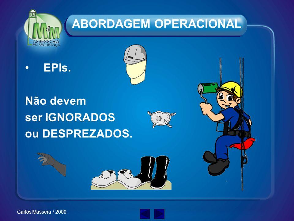 ASSESSORIA EM SEGURANÇA Carlos Massera / 2000 Redes de Alimentação –Antes de começar a trabalhar verifique sempre a posição das redes de alimentação,