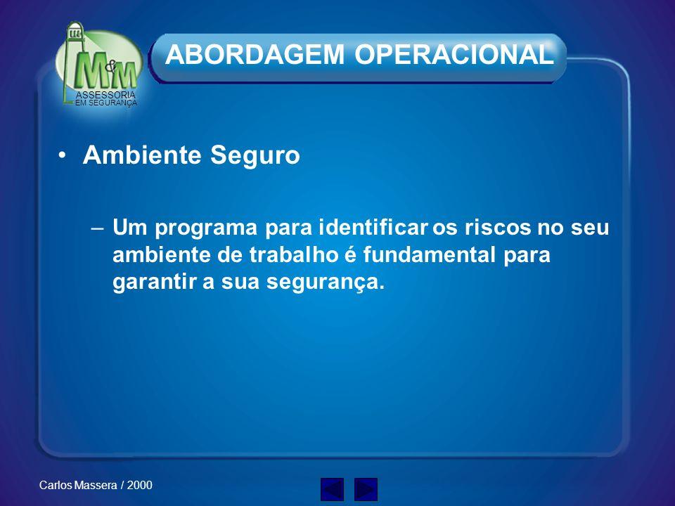 ASSESSORIA EM SEGURANÇA Carlos Massera / 2000 EPIs. Não devem ser IGNORADOS ou DESPREZADOS. ABORDAGEM OPERACIONAL