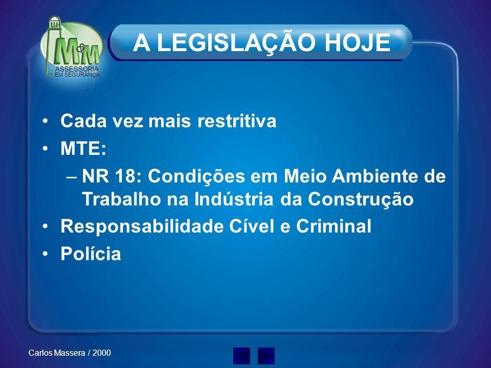 ASSESSORIA EM SEGURANÇA Carlos Massera / 2000 A LEGISLAÇÃO HOJE Cada vez mais restritiva MTE: –NR 18: Condições em Meio Ambiente de Trabalho na Indústria da Construção Responsabilidade Cível e Criminal Polícia