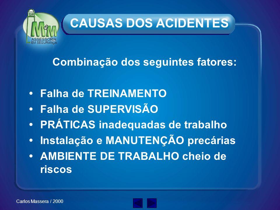 ASSESSORIA EM SEGURANÇA Carlos Massera / 2000 CAUSAS DOS ACIDENTES Combinação dos seguintes fatores: Falha de TREINAMENTO Falha de SUPERVISÃO PRÁTICAS inadequadas de trabalho Instalação e MANUTENÇÃO precárias AMBIENTE DE TRABALHO cheio de riscos