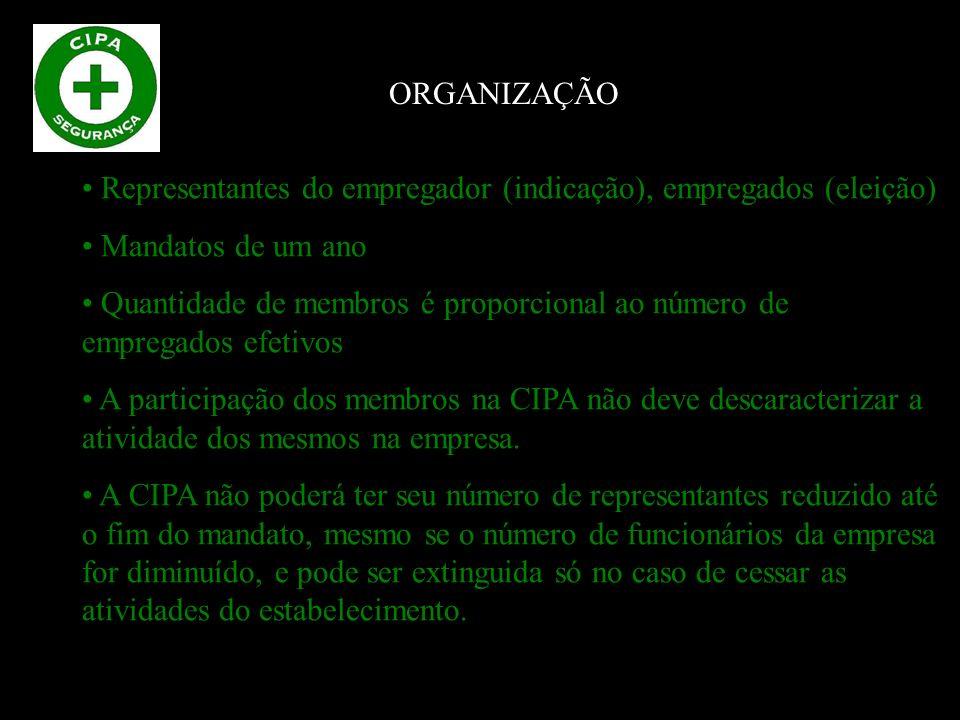 Representantes do empregador (indicação), empregados (eleição) Mandatos de um ano Quantidade de membros é proporcional ao número de empregados efetivos A participação dos membros na CIPA não deve descaracterizar a atividade dos mesmos na empresa.