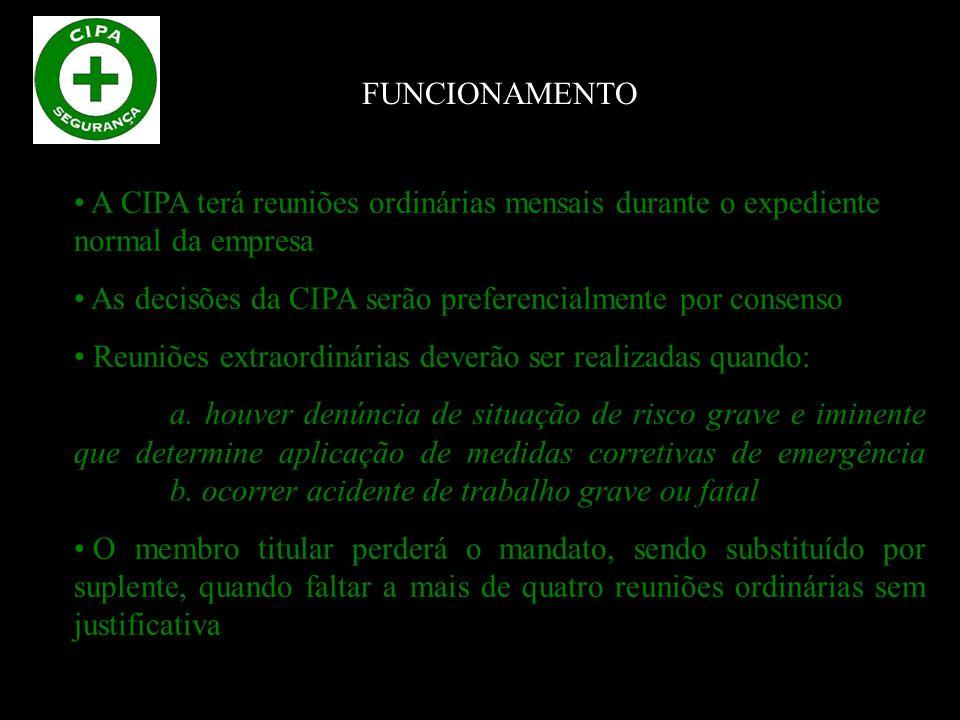 O treinamento para a CIPA deverá contemplar, no mínimo, os seguintes itens: a.