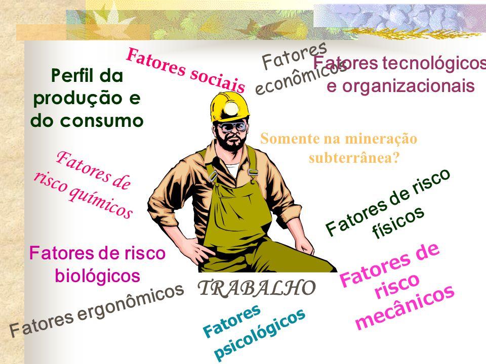 Fatores sociais Fatores econômicos Fatores tecnológicos e organizacionais TRABALHO Perfil da produção e do consumo Fatores de risco químicos Fatores d