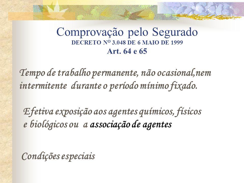 Comprovação pelo Segurado DECRETO N O 3.048 DE 6 MAIO DE 1999 Art. 64 e 65 Tempo de trabalho permanente, não ocasional,nem intermitente durante o perí
