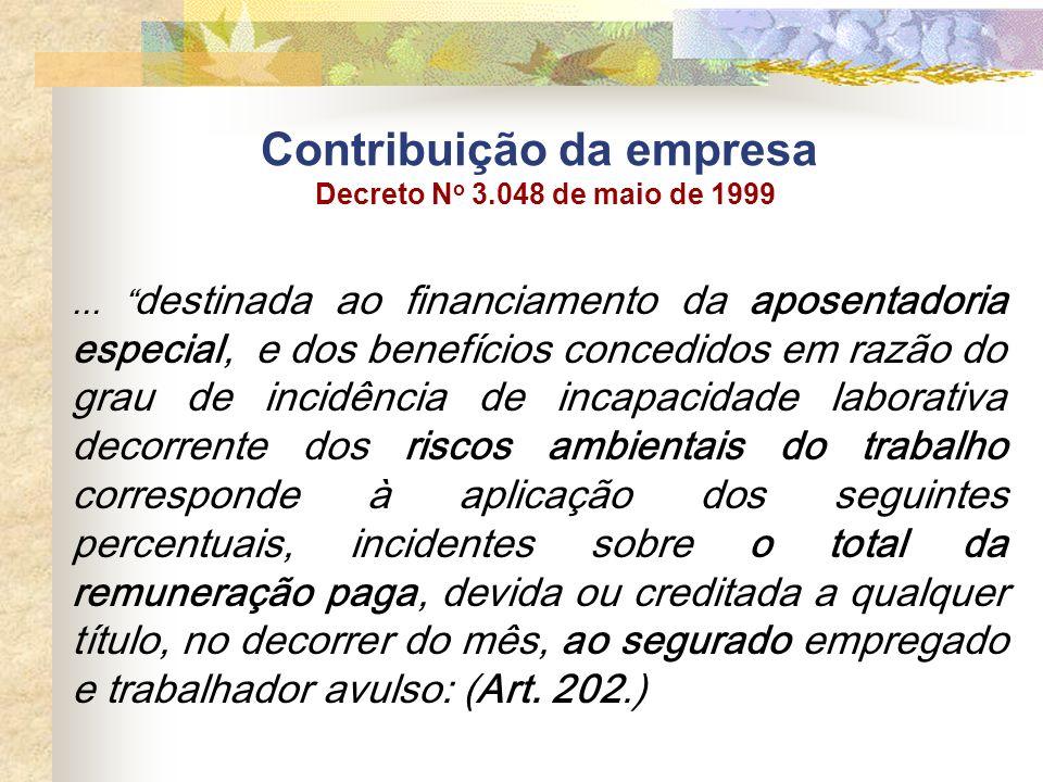 Contribuição da empresa Decreto N o 3.048 de maio de 1999... destinada ao financiamento da aposentadoria especial, e dos benefícios concedidos em razã