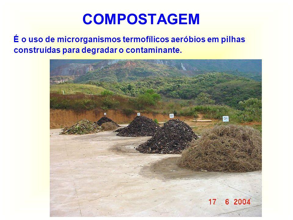 BIORREMEDIÇÃO IN SITU Visa tratar o solo no local de contaminação, com introdução de oxigênio, nutrientes e microrganismos em galerias e poços de infiltração.