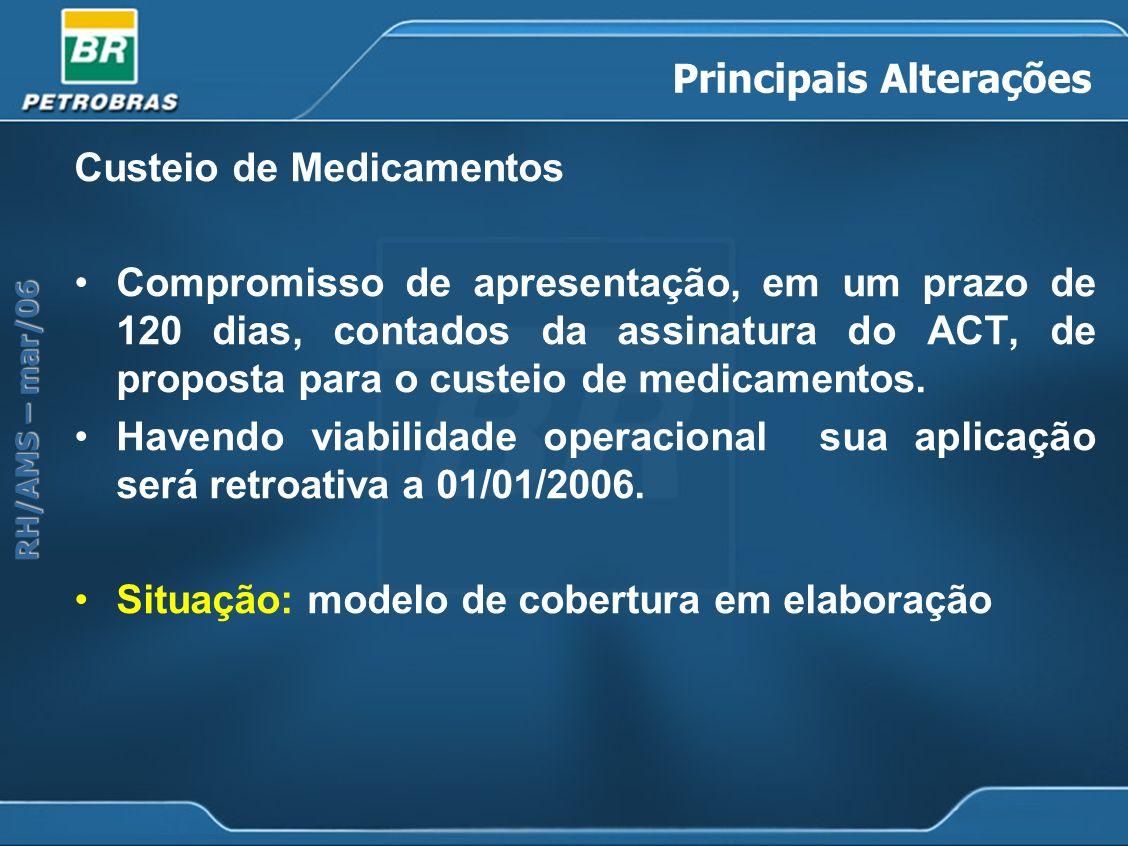 RH/AMS – mar/06 Principais Alterações Custeio de Medicamentos Compromisso de apresentação, em um prazo de 120 dias, contados da assinatura do ACT, de