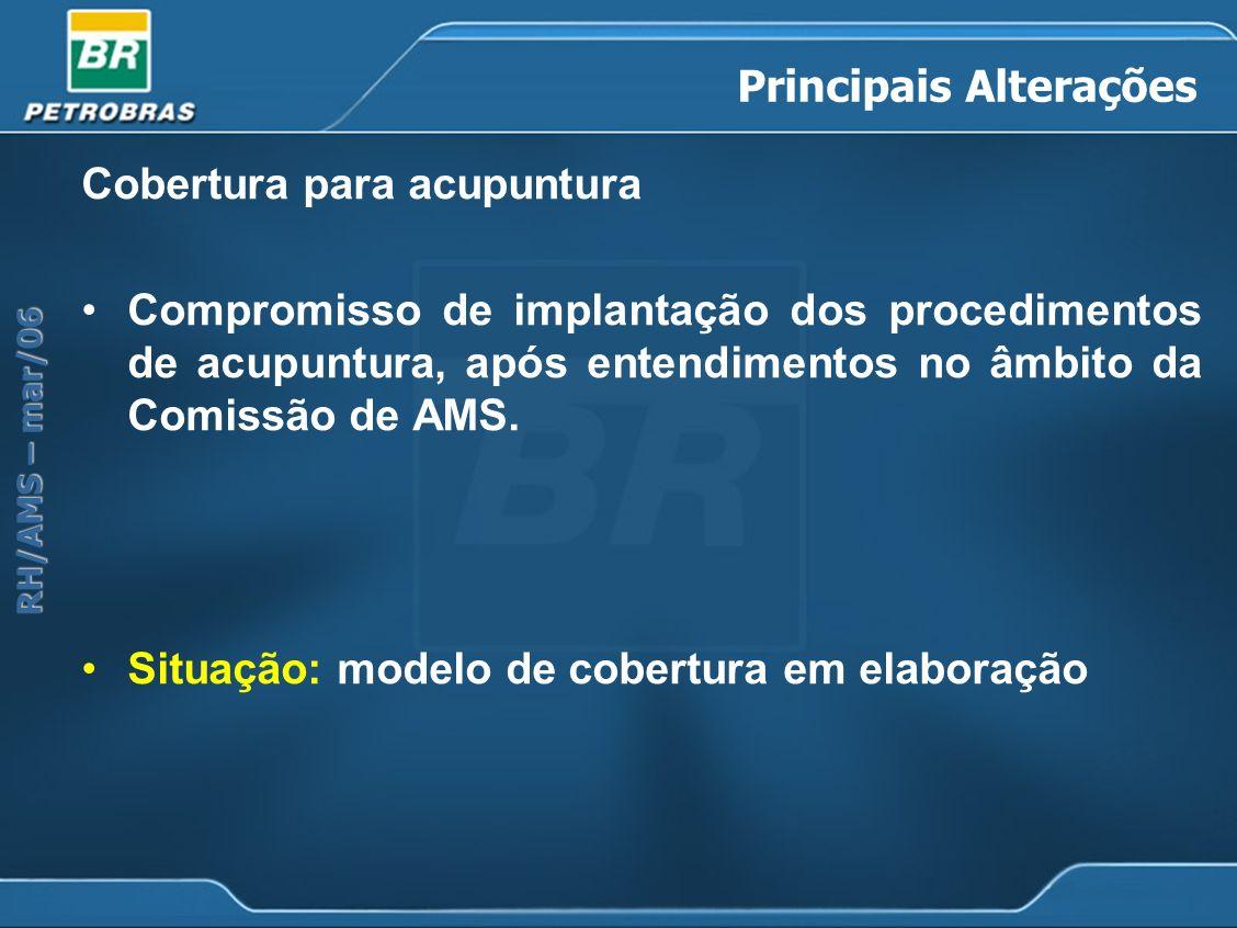 RH/AMS – mar/06 Principais Alterações Cobertura para acupuntura Compromisso de implantação dos procedimentos de acupuntura, após entendimentos no âmbi