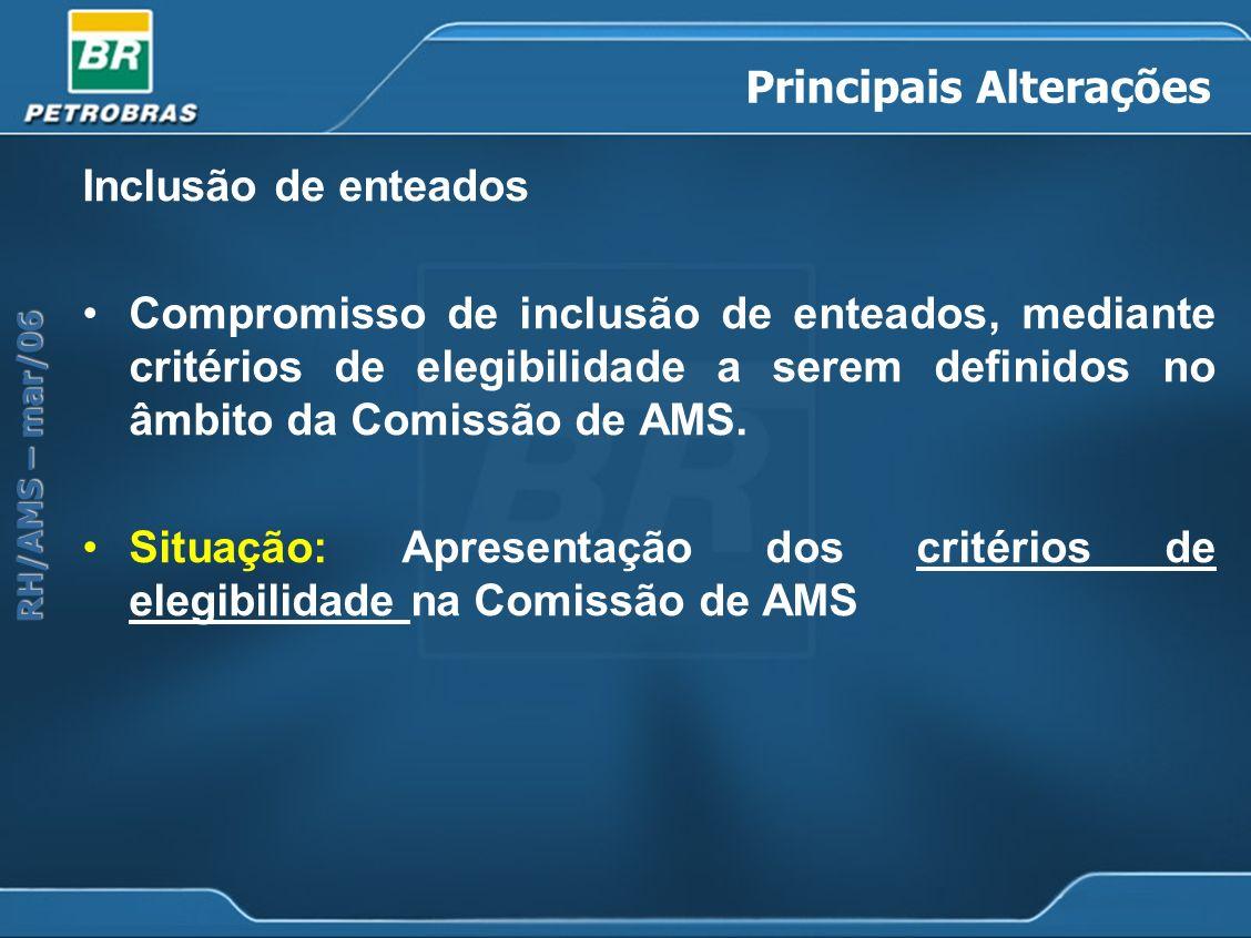 RH/AMS – mar/06 Principais Alterações Inclusão de enteados Compromisso de inclusão de enteados, mediante critérios de elegibilidade a serem definidos