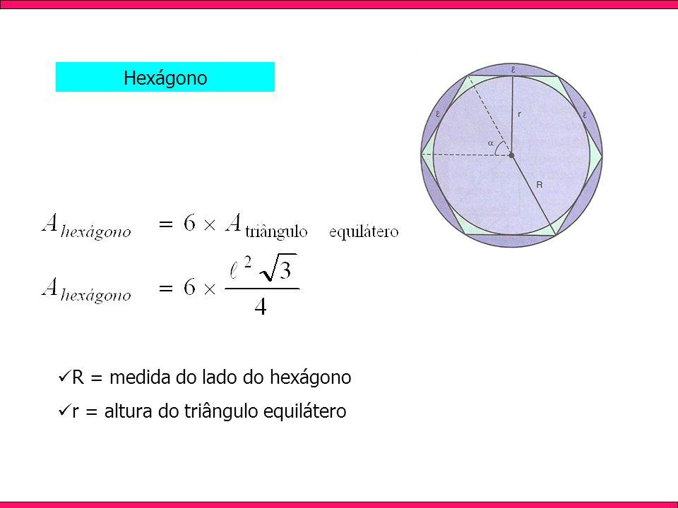 Hexágono R = medida do lado do hexágono r = altura do triângulo equilátero