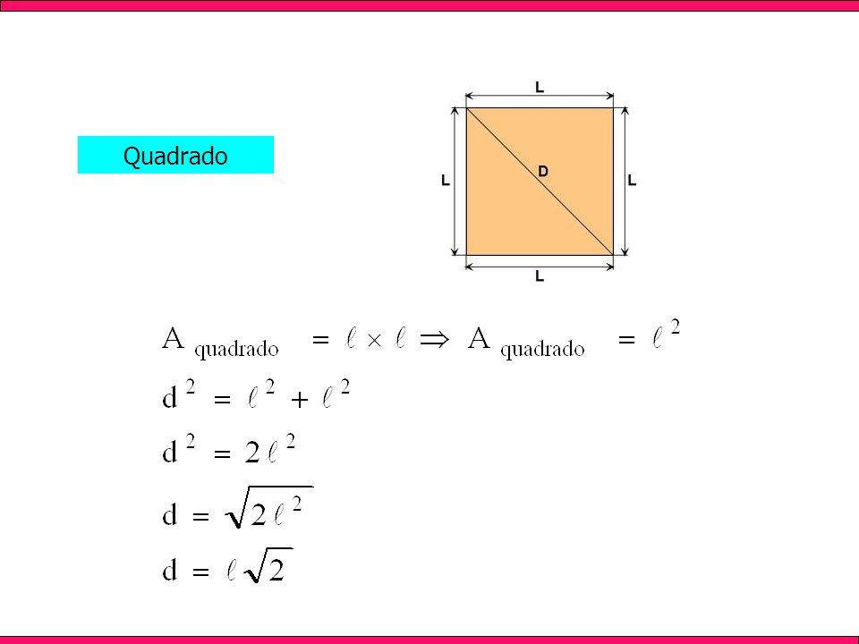 Apresenta todos os lados com mesma medida; As diagonais são perpendiculares (formam 90º) e se intersectam em seu ponto médio; As diagonais são congruentes; Possui 4 ângulos retos (medem 90º).