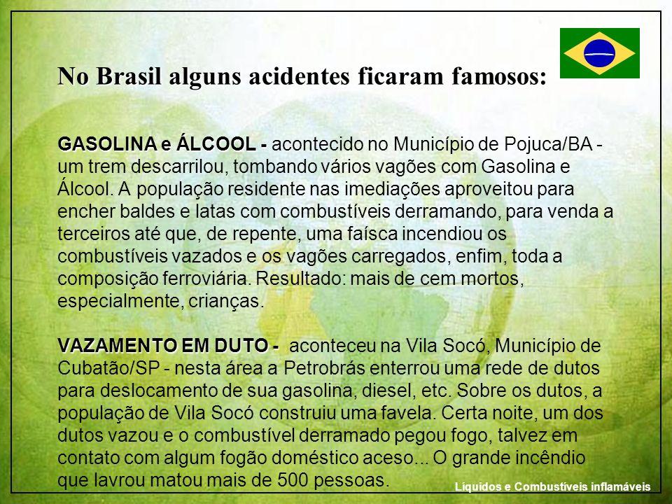 No Brasil alguns acidentes ficaram famosos: GASOLINA e ÁLCOOL - VAZAMENTO EM DUTO - No Brasil alguns acidentes ficaram famosos: GASOLINA e ÁLCOOL - ac