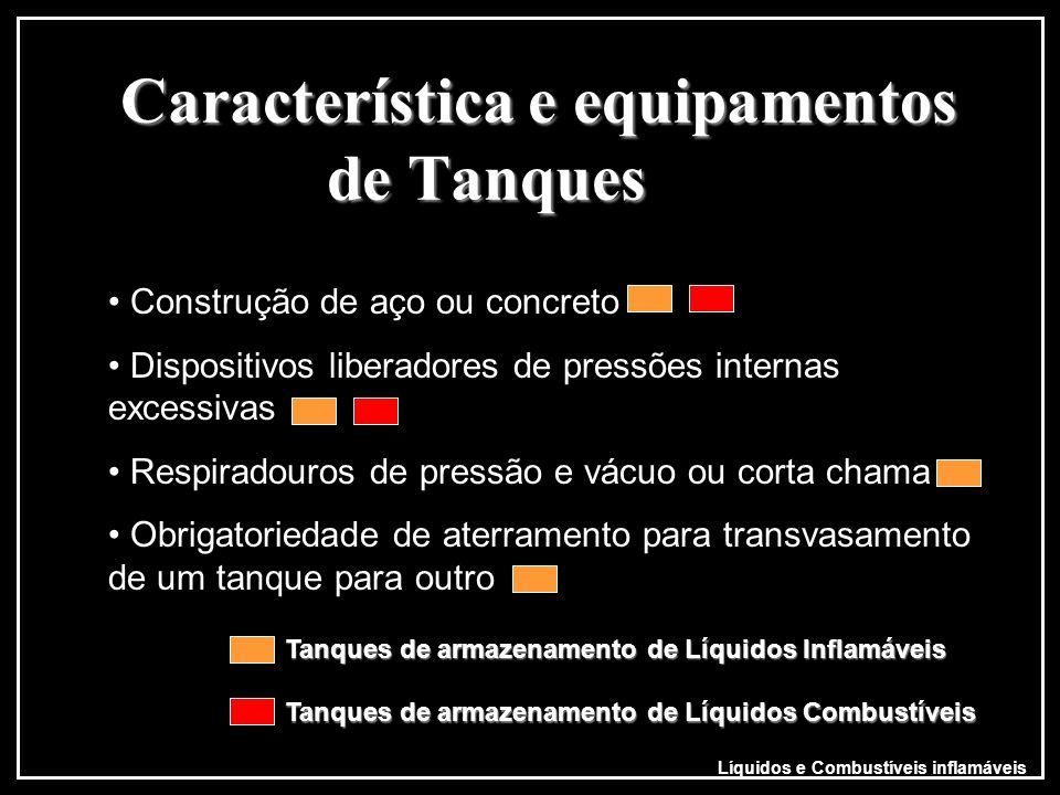 Característica e equipamentos de Tanques Líquidos e Combustíveis inflamáveis Construção de aço ou concreto Dispositivos liberadores de pressões intern