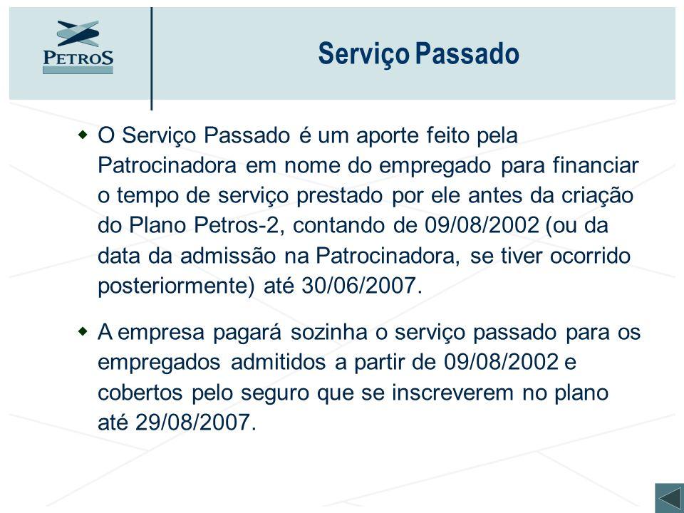 Serviço Passado wO Serviço Passado é um aporte feito pela Patrocinadora em nome do empregado para financiar o tempo de serviço prestado por ele antes