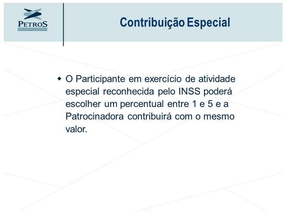 Contribuição Especial wO Participante em exercício de atividade especial reconhecida pelo INSS poderá escolher um percentual entre 1 e 5 e a Patrocina
