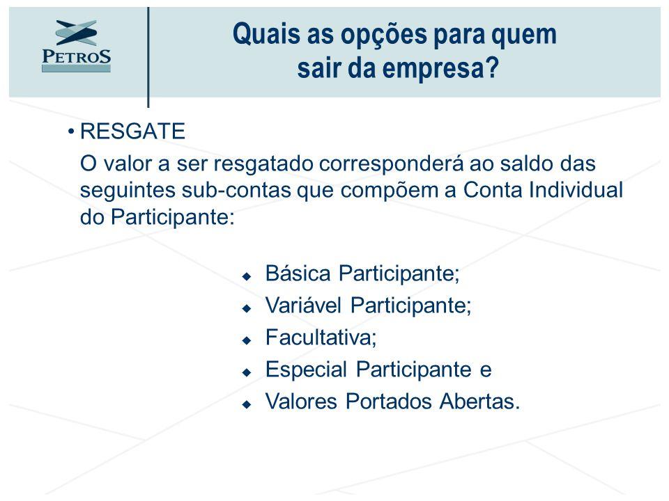 RESGATE O valor a ser resgatado corresponderá ao saldo das seguintes sub-contas que compõem a Conta Individual do Participante: Básica Participante; V