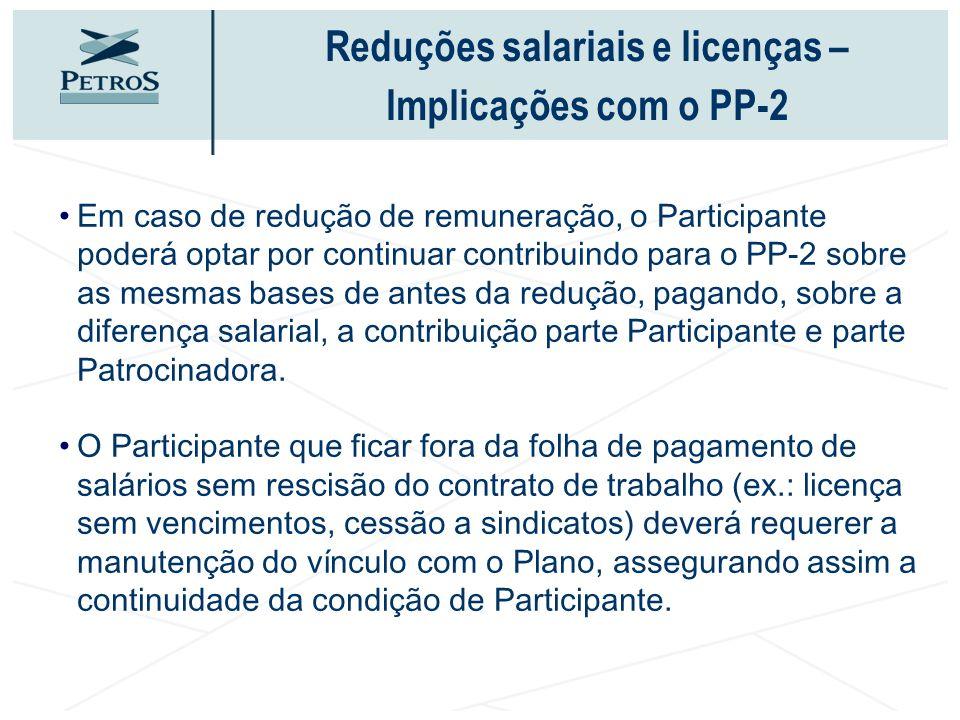 Em caso de redução de remuneração, o Participante poderá optar por continuar contribuindo para o PP-2 sobre as mesmas bases de antes da redução, pagan
