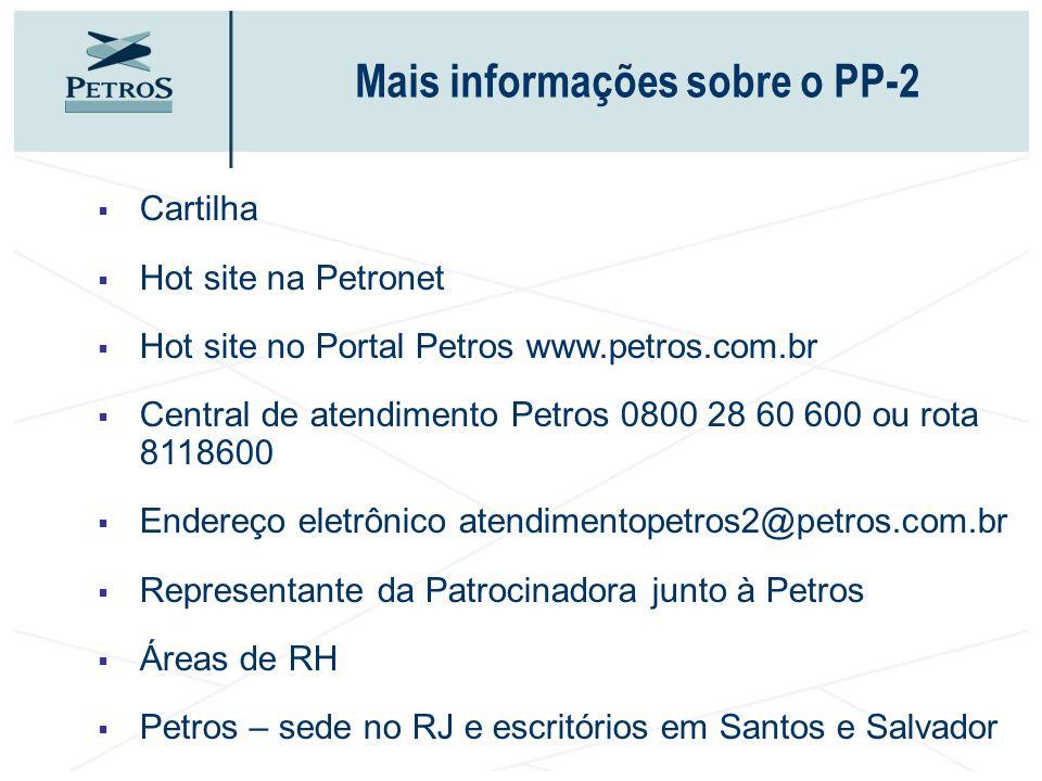 Mais informações sobre o PP-2 Cartilha Hot site na Petronet Hot site no Portal Petros www.petros.com.br Central de atendimento Petros 0800 28 60 600 o