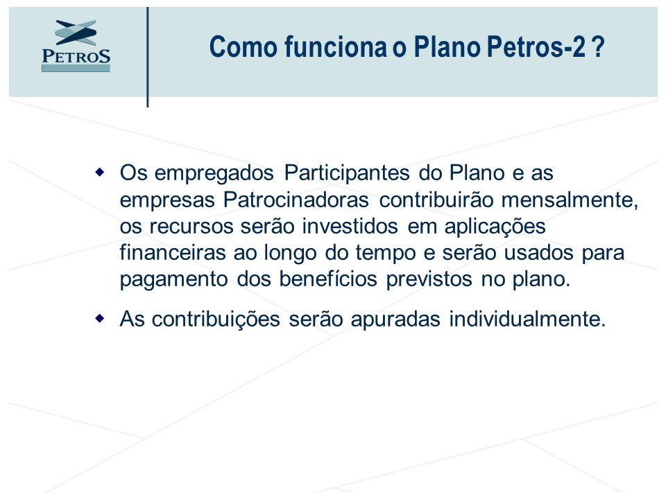 Como funciona o Plano Petros-2 ? Os empregados Participantes do Plano e as empresas Patrocinadoras contribuirão mensalmente, os recursos serão investi