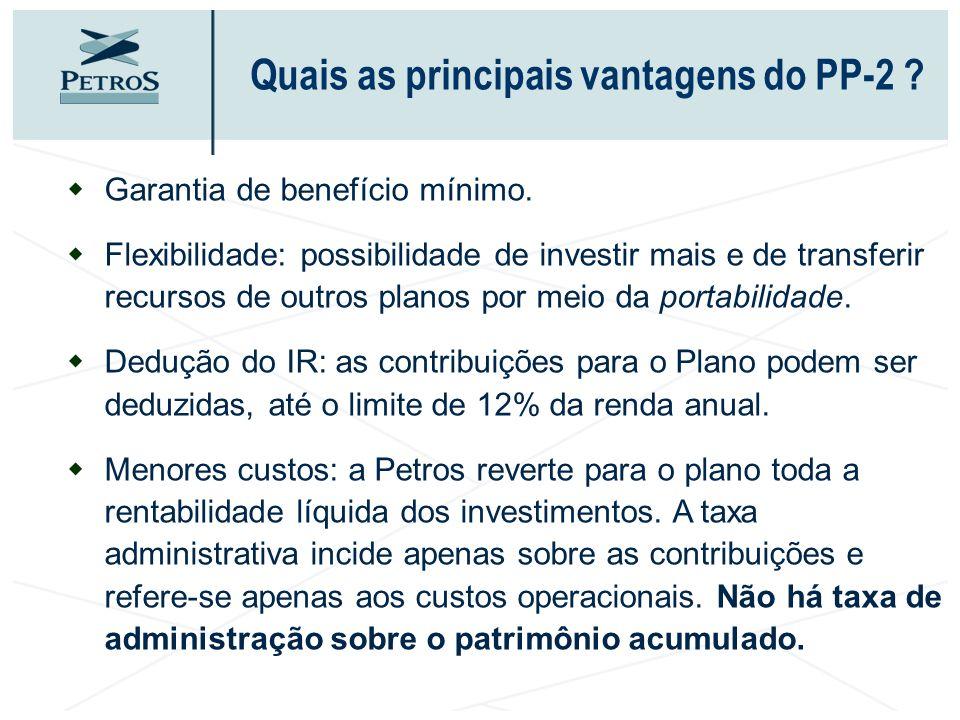 Quais as principais vantagens do PP-2 ? wGarantia de benefício mínimo. wFlexibilidade: possibilidade de investir mais e de transferir recursos de outr