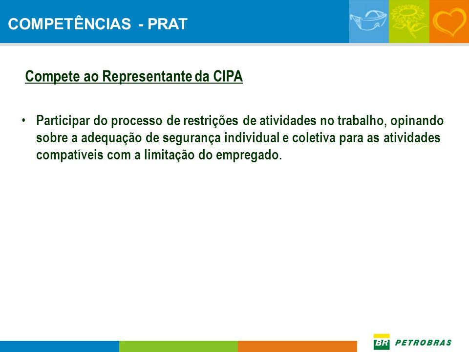 Compete ao Representante da CIPA Participar do processo de restrições de atividades no trabalho, opinando sobre a adequação de segurança individual e