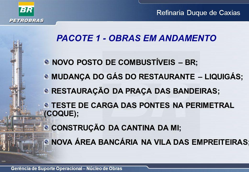 Gerência de Suporte Operacional – Núcleo de Obras Refinaria Duque de Caxias PACOTE 1 - OBRAS EM ANDAMENTO NOVO POSTO DE COMBUSTÍVEIS – BR; MUDANÇA DO