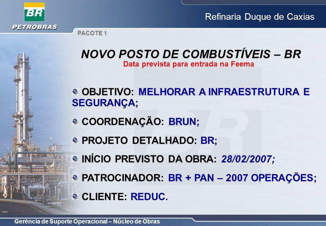 Gerência de Suporte Operacional – Núcleo de Obras Refinaria Duque de Caxias OBJETIVO: MELHORAR A INFRAESTRUTURA E SEGURANÇA; COORDENAÇÃO: BRUN; PROJET