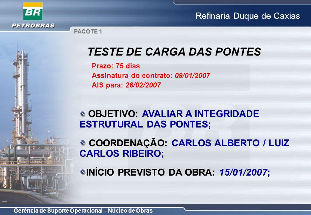Gerência de Suporte Operacional – Núcleo de Obras Refinaria Duque de Caxias OBJETIVO: AVALIAR A INTEGRIDADE ESTRUTURAL DAS PONTES; COORDENAÇÃO: CARLOS