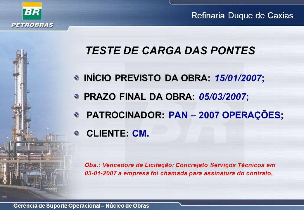 Gerência de Suporte Operacional – Núcleo de Obras Refinaria Duque de Caxias INÍCIO PREVISTO DA OBRA: 15/01/2007; PRAZO FINAL DA OBRA: 05/03/2007; PATR