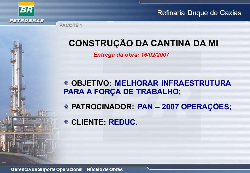 Gerência de Suporte Operacional – Núcleo de Obras Refinaria Duque de Caxias OBJETIVO: MELHORAR INFRAESTRUTURA PARA A FORÇA DE TRABALHO; PATROCINADOR: