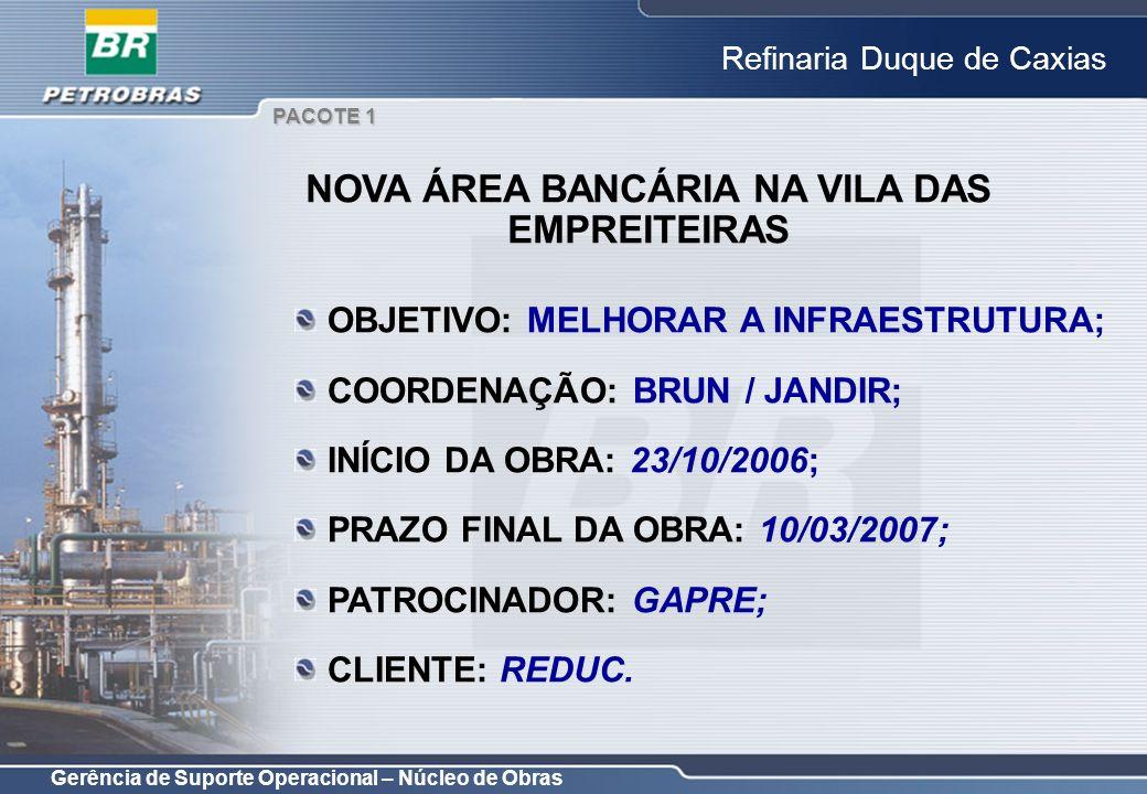 Gerência de Suporte Operacional – Núcleo de Obras Refinaria Duque de Caxias OBJETIVO: MELHORAR A INFRAESTRUTURA; COORDENAÇÃO: BRUN / JANDIR; INÍCIO DA