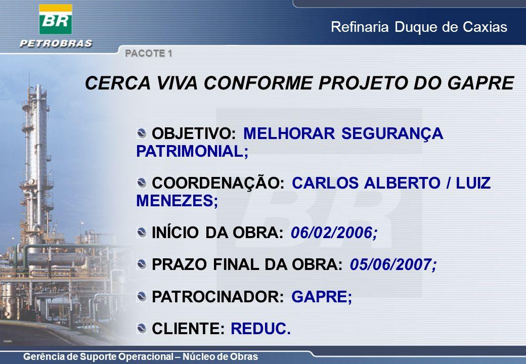 Gerência de Suporte Operacional – Núcleo de Obras Refinaria Duque de Caxias OBJETIVO: MELHORAR SEGURANÇA PATRIMONIAL; COORDENAÇÃO: CARLOS ALBERTO / LU