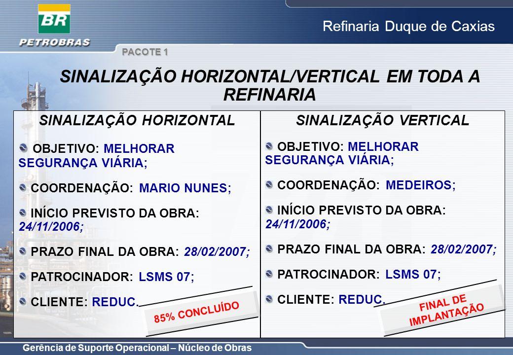 Gerência de Suporte Operacional – Núcleo de Obras Refinaria Duque de Caxias SINALIZAÇÃO HORIZONTAL OBJETIVO: MELHORAR SEGURANÇA VIÁRIA; COORDENAÇÃO: M