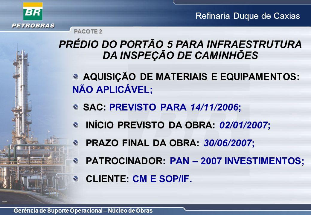 Gerência de Suporte Operacional – Núcleo de Obras Refinaria Duque de Caxias AQUISIÇÃO DE MATERIAIS E EQUIPAMENTOS: NÃO APLICÁVEL; SAC: PREVISTO PARA 1
