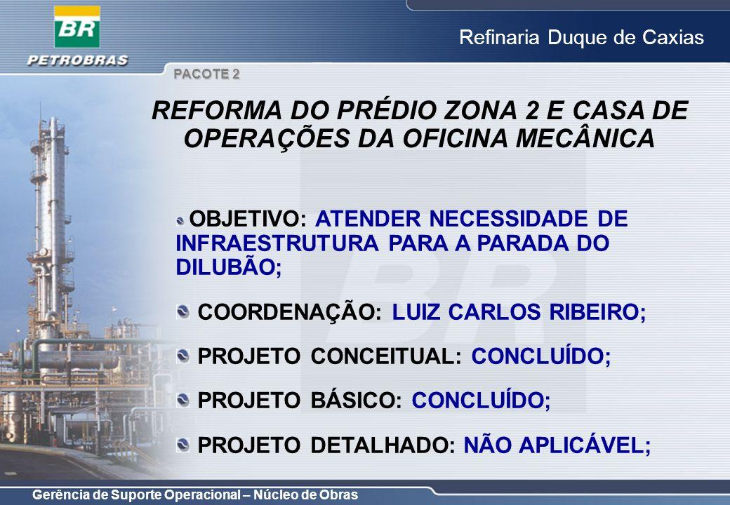 Gerência de Suporte Operacional – Núcleo de Obras Refinaria Duque de Caxias OBJETIVO: ATENDER NECESSIDADE DE INFRAESTRUTURA PARA A PARADA DO DILUBÃO;