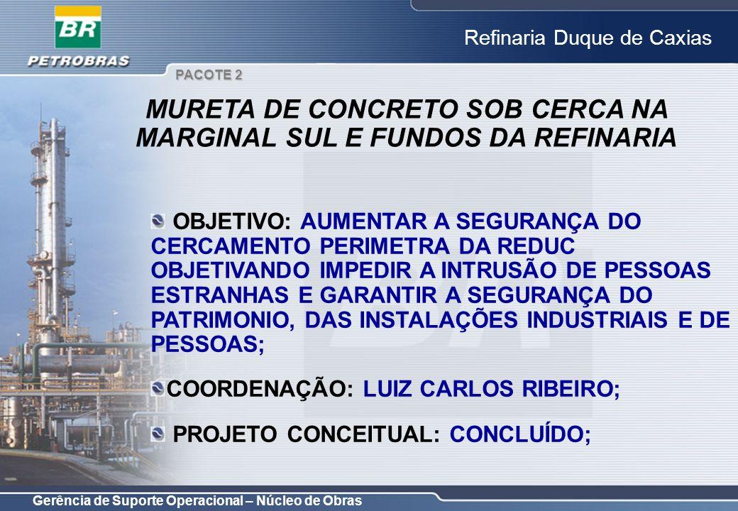 Gerência de Suporte Operacional – Núcleo de Obras Refinaria Duque de Caxias OBJETIVO: AUMENTAR A SEGURANÇA DO CERCAMENTO PERIMETRA DA REDUC OBJETIVAND