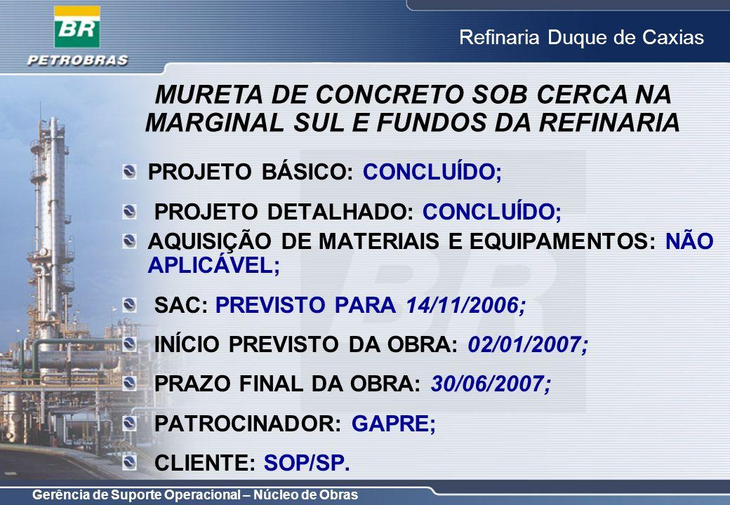 Gerência de Suporte Operacional – Núcleo de Obras Refinaria Duque de Caxias PROJETO BÁSICO: CONCLUÍDO; PROJETO DETALHADO: CONCLUÍDO; AQUISIÇÃO DE MATE