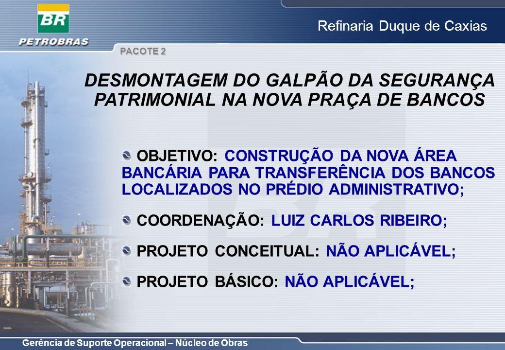 Gerência de Suporte Operacional – Núcleo de Obras Refinaria Duque de Caxias OBJETIVO: CONSTRUÇÃO DA NOVA ÁREA BANCÁRIA PARA TRANSFERÊNCIA DOS BANCOS L