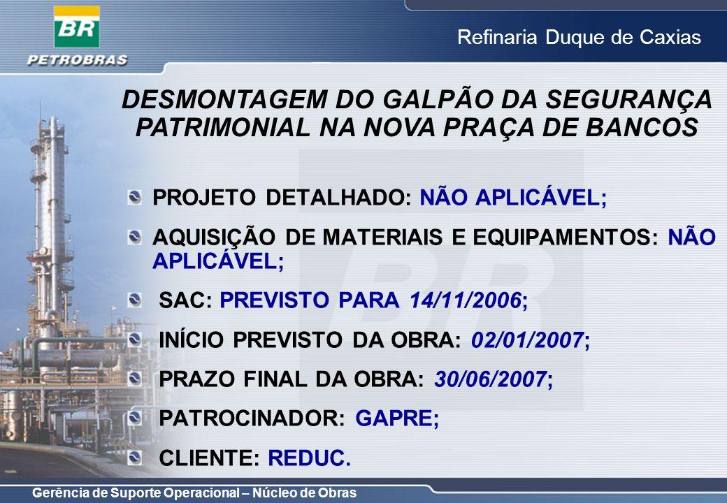 Gerência de Suporte Operacional – Núcleo de Obras Refinaria Duque de Caxias PROJETO DETALHADO: NÃO APLICÁVEL; AQUISIÇÃO DE MATERIAIS E EQUIPAMENTOS: N