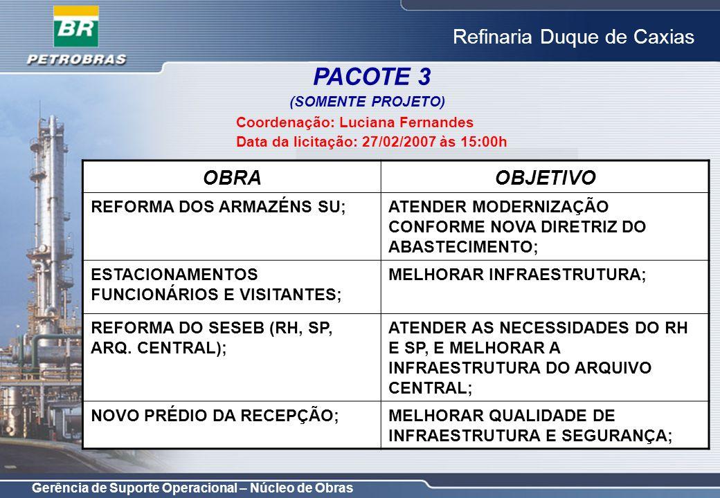 Gerência de Suporte Operacional – Núcleo de Obras Refinaria Duque de Caxias PACOTE 3 (SOMENTE PROJETO) Coordenação: Luciana Fernandes Data da licitaçã