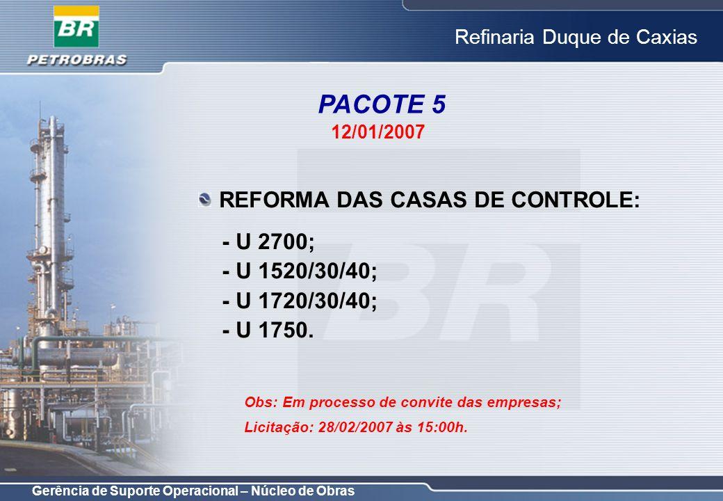 Gerência de Suporte Operacional – Núcleo de Obras Refinaria Duque de Caxias REFORMA DAS CASAS DE CONTROLE: - U 2700; - U 1520/30/40; - U 1720/30/40; -