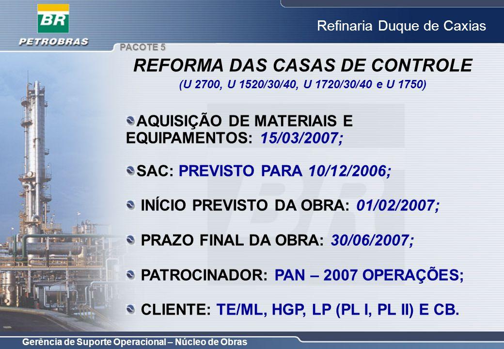 Gerência de Suporte Operacional – Núcleo de Obras Refinaria Duque de Caxias AQUISIÇÃO DE MATERIAIS E EQUIPAMENTOS: 15/03/2007; SAC: PREVISTO PARA 10/1