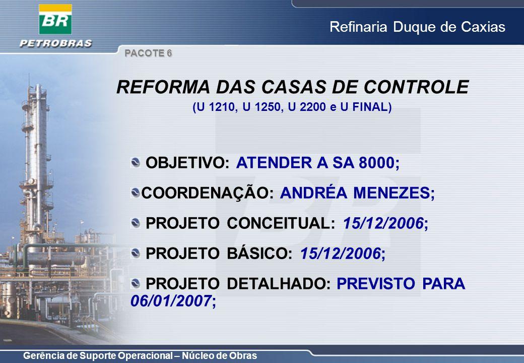 Gerência de Suporte Operacional – Núcleo de Obras Refinaria Duque de Caxias OBJETIVO: ATENDER A SA 8000; COORDENAÇÃO: ANDRÉA MENEZES; PROJETO CONCEITU