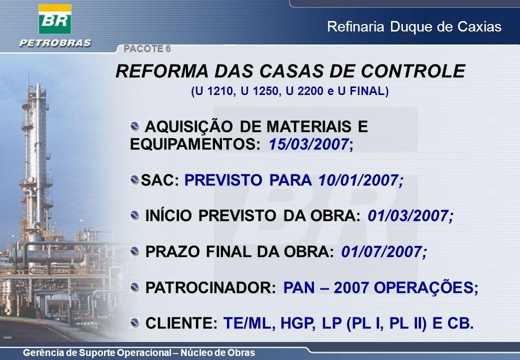 Gerência de Suporte Operacional – Núcleo de Obras Refinaria Duque de Caxias AQUISIÇÃO DE MATERIAIS E EQUIPAMENTOS: 15/03/2007; SAC: PREVISTO PARA 10/0