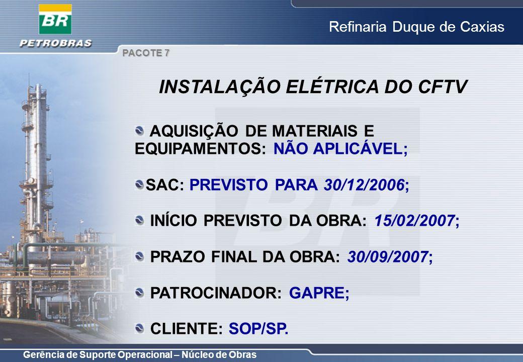 Gerência de Suporte Operacional – Núcleo de Obras Refinaria Duque de Caxias AQUISIÇÃO DE MATERIAIS E EQUIPAMENTOS: NÃO APLICÁVEL; SAC: PREVISTO PARA 3