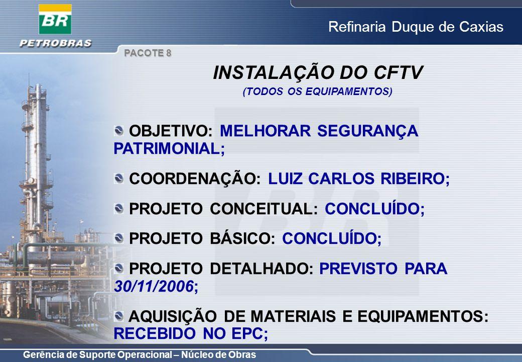 Gerência de Suporte Operacional – Núcleo de Obras Refinaria Duque de Caxias OBJETIVO: MELHORAR SEGURANÇA PATRIMONIAL; COORDENAÇÃO: LUIZ CARLOS RIBEIRO