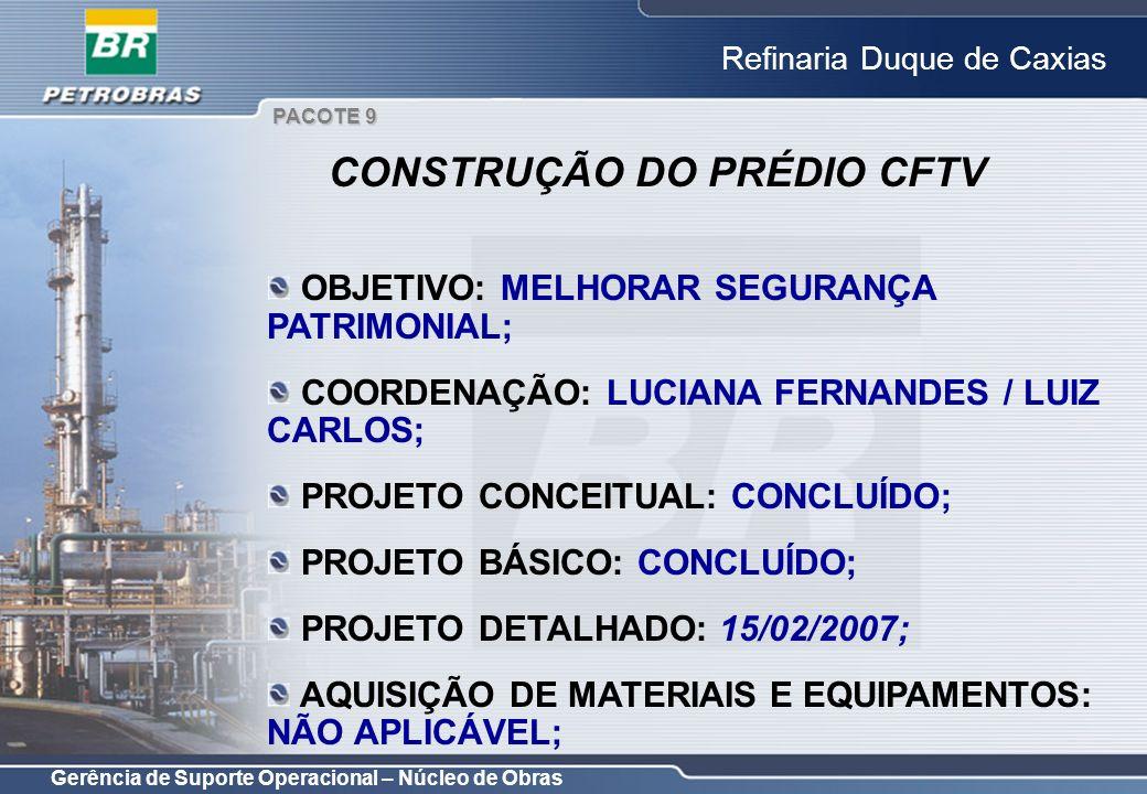 Gerência de Suporte Operacional – Núcleo de Obras Refinaria Duque de Caxias OBJETIVO: MELHORAR SEGURANÇA PATRIMONIAL; COORDENAÇÃO: LUCIANA FERNANDES /