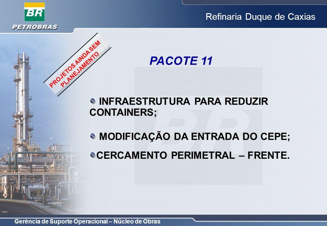Gerência de Suporte Operacional – Núcleo de Obras Refinaria Duque de Caxias INFRAESTRUTURA PARA REDUZIR CONTAINERS; MODIFICAÇÃO DA ENTRADA DO CEPE; CE