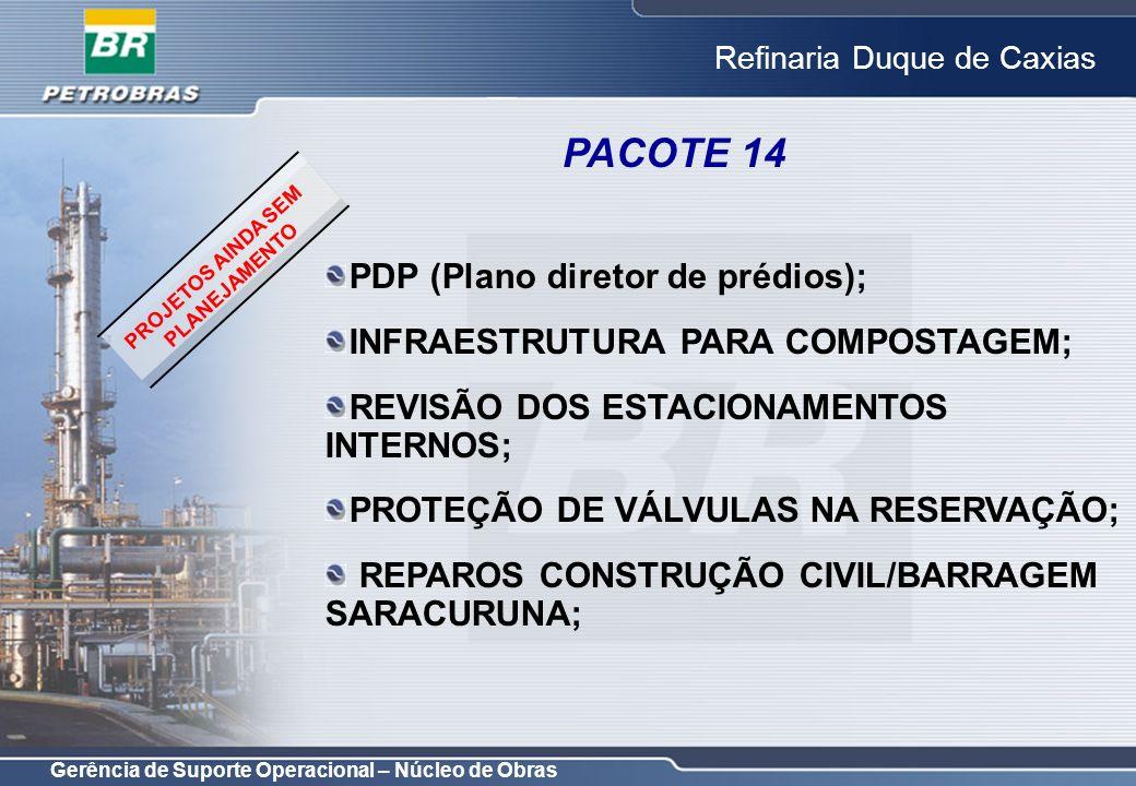 Gerência de Suporte Operacional – Núcleo de Obras Refinaria Duque de Caxias PACOTE 14 PDP (Plano diretor de prédios); INFRAESTRUTURA PARA COMPOSTAGEM;